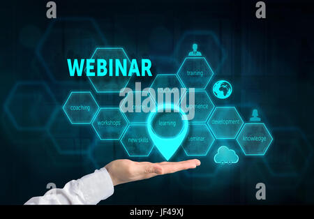 Webinar concept. Presenting gesture of businessman and chart with related keywords and signs over business background. - Stock Photo