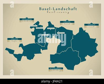 Map of canton Basel Land Switzerland Stock Photo 33807304 Alamy