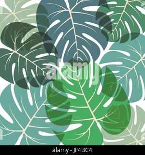 Palm leaves pattern Vector illustration Green summer tropical background with translucent large exotic palm leaves - Stock Photo