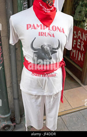 Mannequin dressed in the traditional outfit for participants in the annual Running of the Bulls San Fermin Festival - Stock Photo