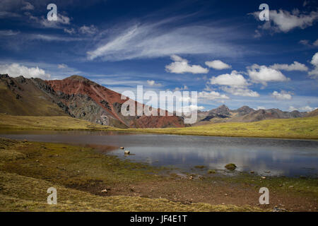Landscape in Vinicunca, Peru - Stock Photo