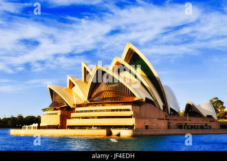 Sydney, Australia - 24 June 2017: Facade of modern contemporary  Opera House theater building on Sydney city harbour - Stock Photo