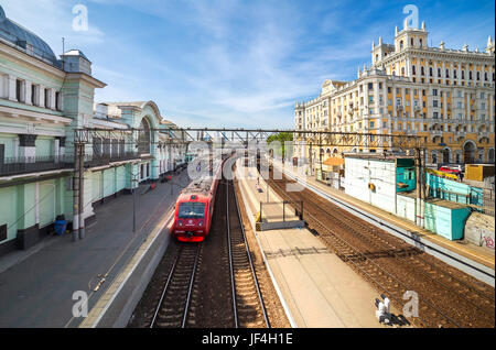 Belorussky railway terminal. Moscow - Stock Photo