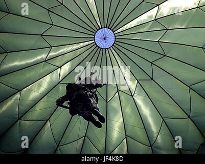 010809-F-1644L-009  A soldier from the Army's 82nd Airborne Division parachutes to the ground at Charleston Air - Stock Photo