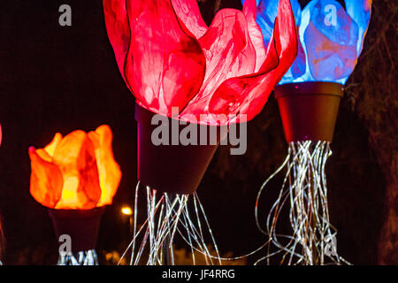 Jerusalem, Israel. 28th June, 2017. Jerusalem, Israel. Glowing artificial flowers, part of the 2017 'Light in Jerusalem' - Stock Photo