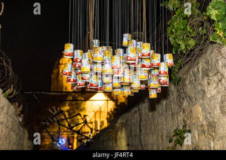 Jerusalem, Israel. 28th June, 2017. Jerusalem, Israel. art shows and illuminations near the Dormition Church on - Stock Photo