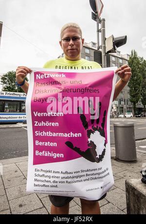 Munich. 29th June, 2017. 15 citizens and members of the Netzwerk Rassismus- und Diskriminierungsfrei Bayern eV demonstrated - Stock Photo