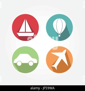 set, icons, elements, blue, object, travel, graphics, holiday, vacation, - Stock Photo