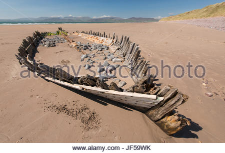 The remains of the Sunbeam schooner shipwreck which occurred in 1903. - Stock Photo