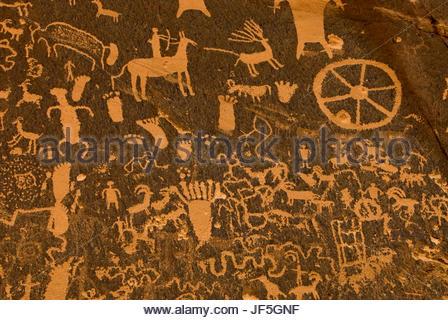 Ancient petroglyphs at Newspaper Rock State Historic Monument, Utah. - Stock Photo
