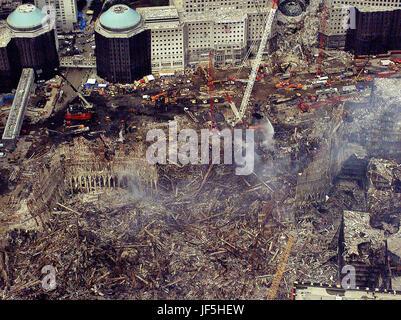 NEW YORK, New York (Sept. 26)--An aerial view of the still smoldering World Trade Center Complex September 26, 15 - Stock Photo