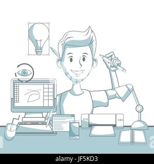 scene silhouette color sections shading of guy designer and elements graphic design - Stock Photo