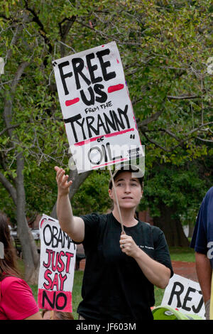 September 03, 2011:  Environmental activists protesting Keystone XL pipeline (tar sands, environmental protest) - Stock Photo