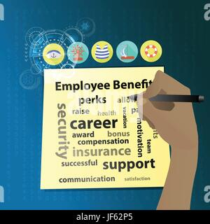 Employee Benefits. The hand is writing on a yellow sticker. Icons for the sea. Illustration for your design - Stock Photo