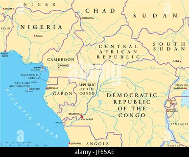 West Central Africa Political Map with capitals national borders