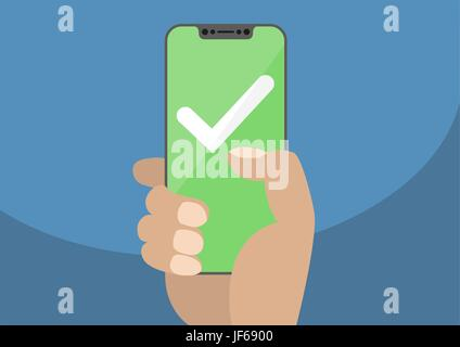 White checkmark on green touchscreen. Hand holding bezel free / frameless smartphone. Mobile success concept. Modern - Stock Photo