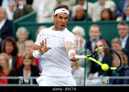 Spain's Rafael Nadal during an exhibition tennis match in London June 2017 - Stock Photo