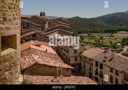 Panoramic view of Frias, Burgos, Castile and Leon, Spain - Stock Photo