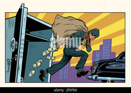 thief escapes from a Bank, bag of money - Stock Photo