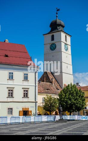 Council Tower (Turnul Sfatului) on Large Square in Historic Center of Sibiu city of Transylvania region, Romania - Stock Photo