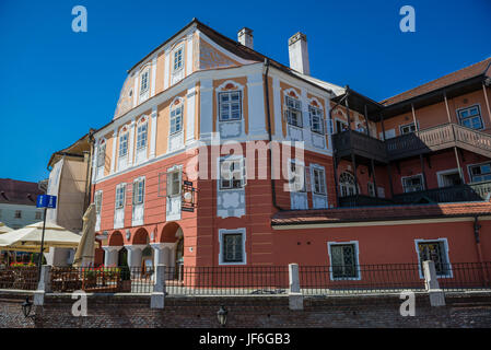 Casa Luxemburg hotel in historical building on a Small Square, Historic Center of Sibiu city of Transylvania region, - Stock Photo