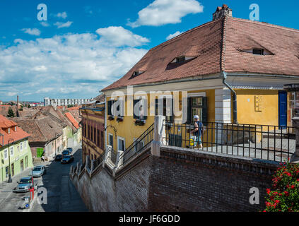 Historical town house (former Reschner Heinrich music shop) on a Ocnei Street next to Small Square, Historic Center - Stock Photo