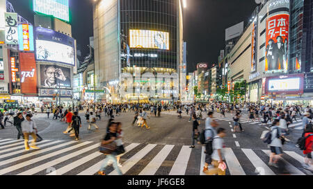 Tokyo, Japan. May 30, 2015. The shibuya district in Tokyo with many people. Shibuya is popular in Tokyo for his - Stock Photo
