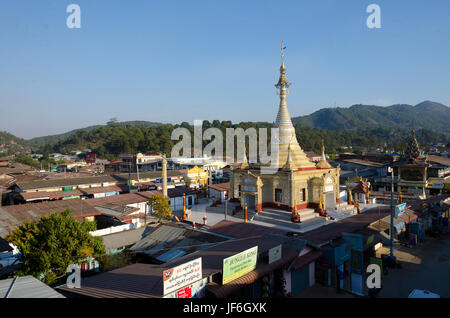 Temple and view across town centre, Kalaw, Shan, Myanmar (Burma) - Stock Photo