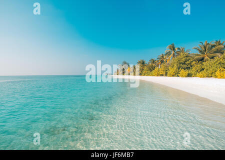 Perfect beach view. Summer holiday and vacation design. Inspirational tropical beach, palm trees and white sand. - Stock Photo