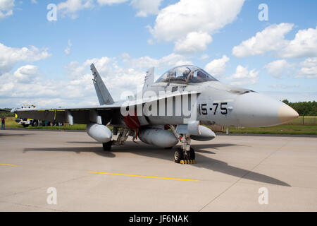GEILENKIRCHEN, GERMANY - JUNE 17: Spanish Air Force F/A-18 Hornet on display at Geilenkirchen NATO AWACS 25th Anniversary - Stock Photo