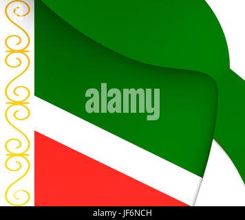 Flag of Chechen Republic, Russia. - Stock Photo