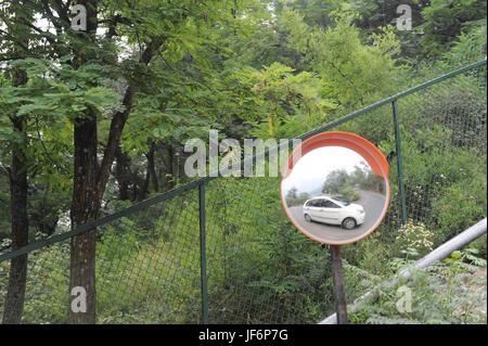 Car reflection in mirror, Srinagar, jammu Kashmir, india, asia - Stock Photo