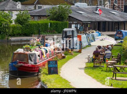 Narrow boats selling ice cream and produce on the Llangollen Canal at Ellesmere, Shropshire, England, UK - Stock Photo