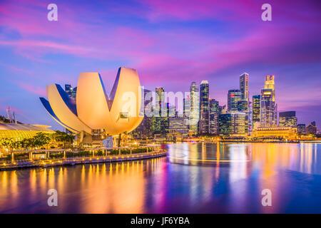 Singapore city skyline on the marina. - Stock Photo