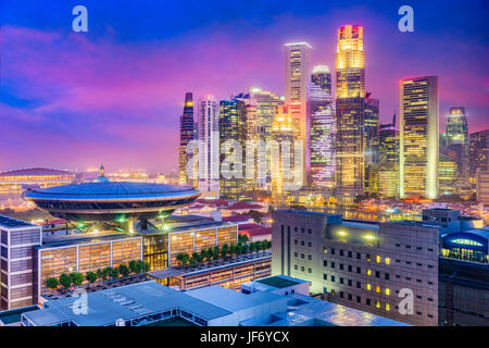 Singapore downtown skyline with the Supreme Court Building. - Stock Photo