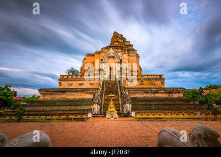 Wat Chedi Luang in Chiang Mai, Thailand. - Stock Photo