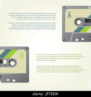 Infographic design with old school cassettes - Stock Photo