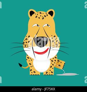 tricky cheetah gartoon character - Stock Photo