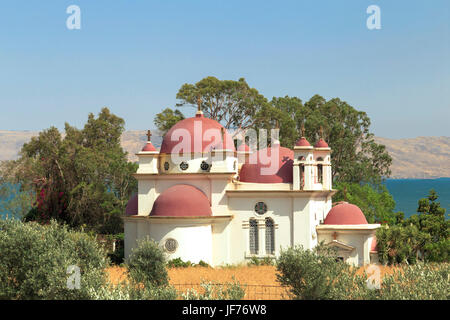 The Greek Orthodox Church of the Holy Apostles or a.k.a. the Church of the Seven Apostles, Capernaum, with view - Stock Photo