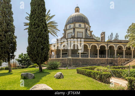 View of Cloister of Beatitudes church, famous location of the Sermon of the Mount, overlooking the Sea of Galilee, - Stock Photo