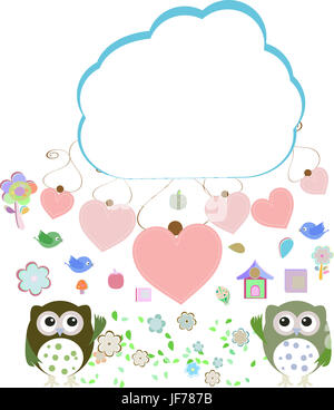 owls, birds, flowers, cloud and love heart, - Stock Photo