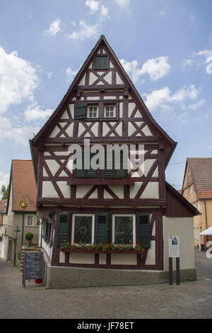 Half-Timbering house in Lauffen, Germany - Stock Photo