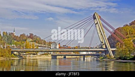 Rhine bridge Schaffhausen, Switzerland - Stock Photo