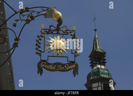 Inn sign in the city of Waiblingen, Germany - Stock Photo