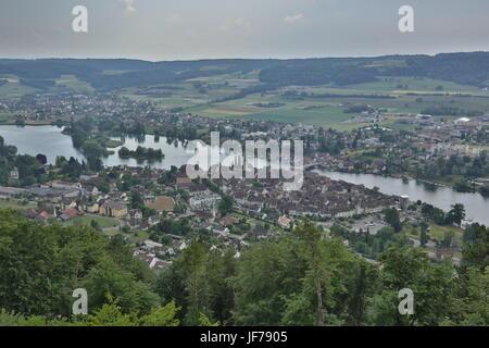 Stein am Rhein, Switzerland, Aerial View - Stock Photo