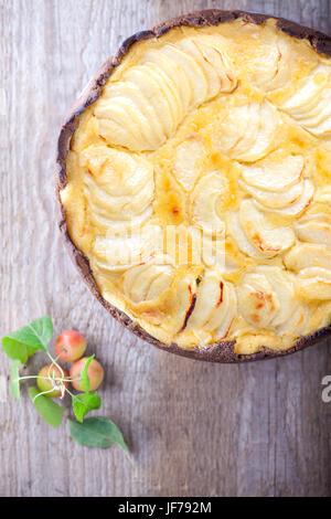 Apple pie on wooden table. Gluten free - Stock Photo