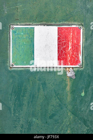 Italan flag on old plate - Stock Photo