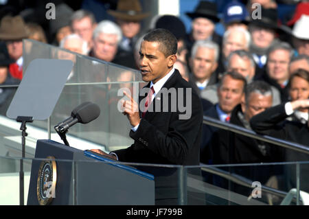President Barack Obama delivers his inaugural address in Washington, D.C., Jan. 20, 2009. DoD photo by Master Sgt. - Stock Photo