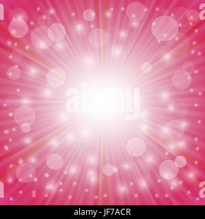 Pink Background. Sun Burst on Pink Background. Ray Background with Stars - Stock Photo