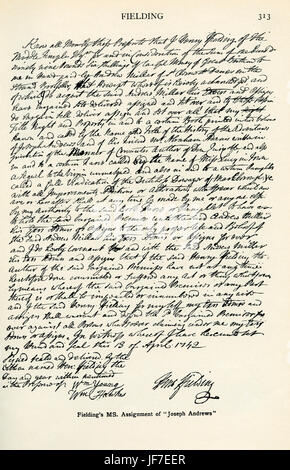 Henry Fielding 's - signed manuscript assignment of the novel, 'Joseph Andrews' ('The History of the Adventures - Stock Photo
